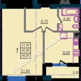 общая площадь 46,85 кв.м.