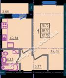 общая площадь 42,75 кв.м.