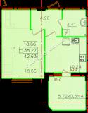 общая площадь 42,63 кв.м.