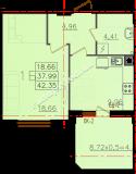 общая площадь 42,35 кв.м.