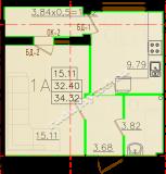 общая площадь 34,32 кв.м.
