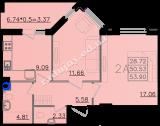 общая площадь 53,90 кв.м.