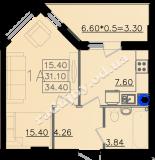 общая площадь 34,40 кв.м.