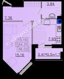 общая площадь 36,02 кв.м.