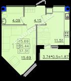 общая площадь 37,31 кв.м.