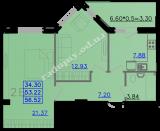 общая площадь 56,52 кв.м.