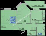 общая площадь 54,18  кв.м.