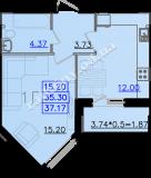 общая площадь 37,17 кв.м.