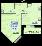 общая площадь 37,87 кв.м.