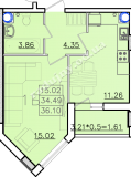 общая площадь 36,10 кв.м.