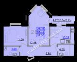 общая площадь 57,55 кв.м.