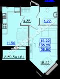общая площадь 36,90 кв.м.