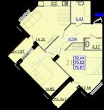 общая площадь 72,67 кв.м.