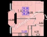 общая площадь 36,27 кв.м.