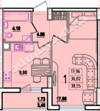 общая площадь 38,55 кв.м.