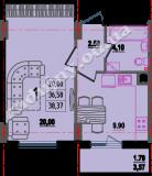 общая площадь 38,37 кв.м.