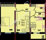 общая площадь 60,63 кв.м.