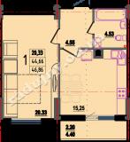 общая площадь 46,86 кв.м.