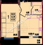 общая площадь 47.15 кв.м.