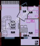 общая площадь 38,38 кв.м.
