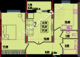 общая площадь 57,58 кв.м.