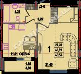 общая площадь 43,54  кв.м.