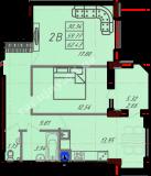 общая площадь 62,43  кв.м.