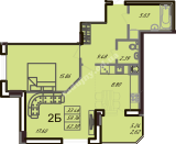 общая площадь 62,38 кв.м.