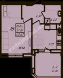 общая площадь 42,22  кв.м.