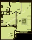 общая площадь 44,63  кв.м.