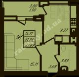 общая площадь 33,89  кв.м.