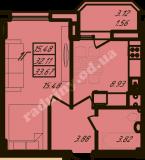 общая площадь 33,67 кв.м.