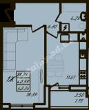 общая площадь 42,34 кв.м.