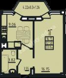 общая площадь 33,84 кв.м.