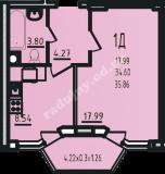 общая площадь 35,86 кв.м.
