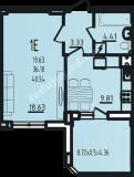 общая площадь 40,54 кв.м.