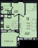общая площадь 44,64 кв.м.