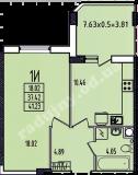 общая площадь 41,23 кв.м.