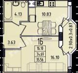 общая площадь 35,56 кв.м.