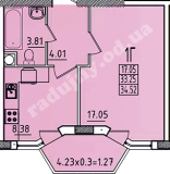 общая площадь 34,52 кв.м.