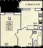 общая площадь 38,32 кв.м.