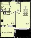 общая площадь 39,66 кв.м.