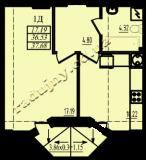 общая площадь 37,68 кв.м.