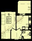 общая площадь 40.64 кв.м.