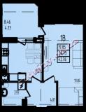 общая площадь 42,96 кв.м.