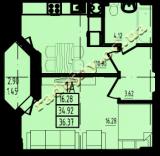 общая площадь 36,37 кв.м.