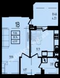 общая площадь 42,97 кв.м.