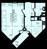 общая площадь 42,08 кв.м.