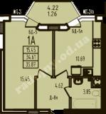 общая площадь 35,87 кв.м.