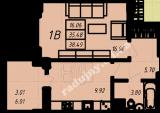 общая площадь 38,49 кв.м.